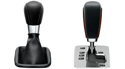 2010 Volvo V70 Shift lever knobs, leather/walnut root, leather/paint, leather